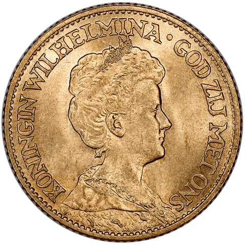 1912 Netherlands Wilhelmina I Gold 10 Gulden - KM.149 - Brilliant Uncirculated