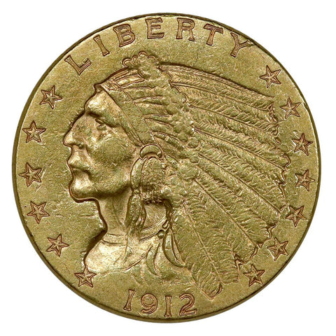 1912 $2.5 Indian Quarter Eagle Gold Coin - Extremely Fine