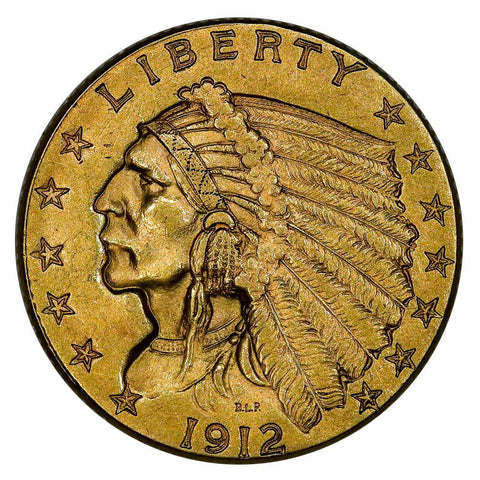 1912 $2.5 Indian Quarter Eagle Gold Coin - About Uncirculated