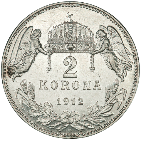 1912 Hungary Silver 2 Korona KM.493 - PQ Brilliant Uncirculated