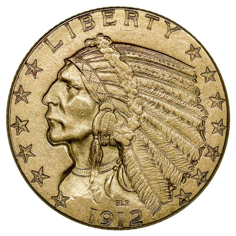 1912 $5 Indian Half Eagle Gold Coin - PQ Brilliant Uncirculated
