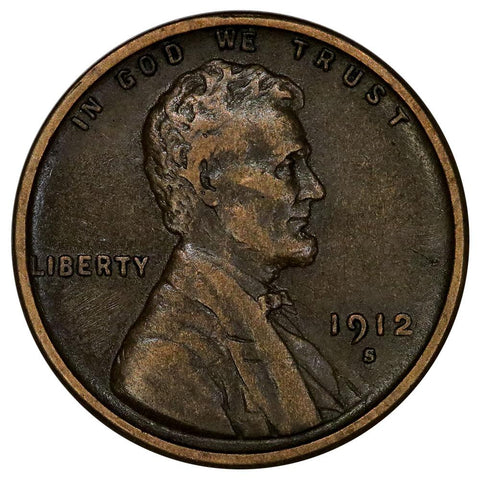 1912-S Lincoln Wheat Cent - Very Fine+