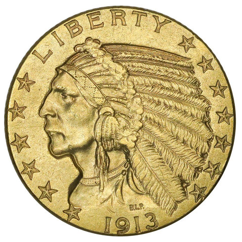 1913 $5 Indian Half Eagle Gold Coin - PQ Brilliant Uncirculated