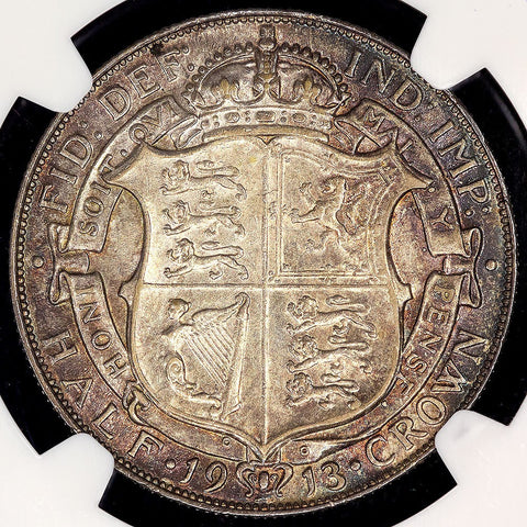 1913 Great Britain Silver  Half Crown KM.818.1 - NGC AU 55