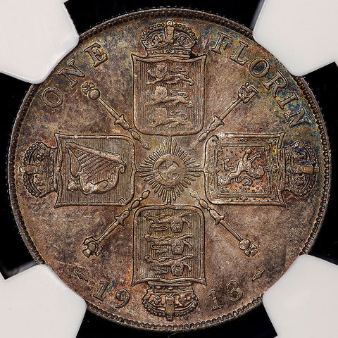 1913 Great Britain Silver Florin (2 Shilling) KM.817 - NGC AU 55
