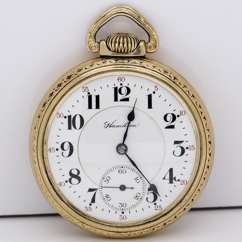 1913 Hamilton 10K GF Pocket Watch - 17J, Grade 978, Model 2, Size 16s
