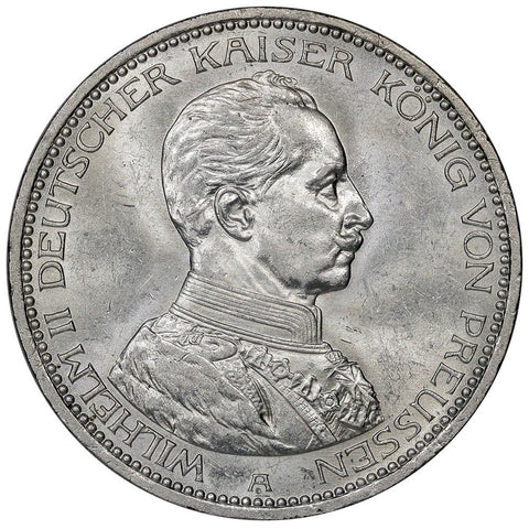 1913-A German States, Prussia Silver 5 Mark KM.536 - Brilliant Uncirculated