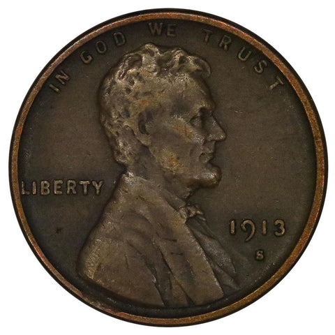 1913-S Lincoln Wheat Cent - Very Fine+