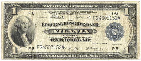 1918 $1 Atlanta Federal Reserve Bank Note FR. 726 - Very Good