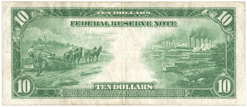 1914 $10 Richmond Federal Reserve Note Fr. 923 - Very Fine