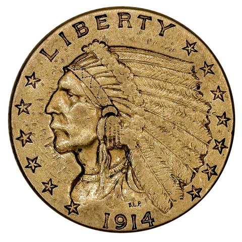 1914 $2.5 Indian Quarter Eagle Gold Coin - Extremely Fine