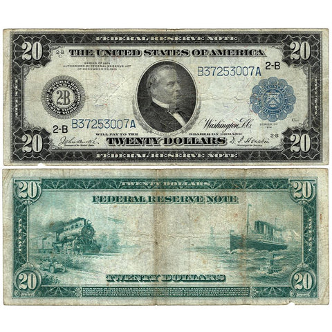 1914 $20 Federal Reserve Bank of New York Note Fr. 970 - Very Good
