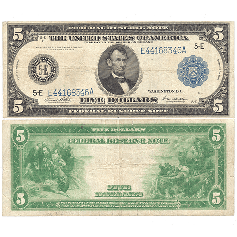 1914 $5 Richmond Federal Reserve Note Fr. 863A - Choice Fine