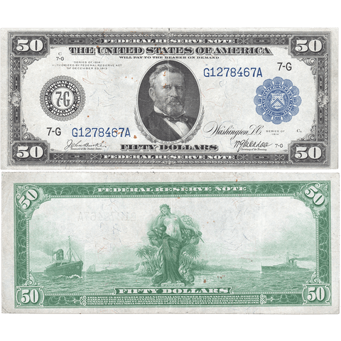1914 $50 Chicago Federal Reserve Note Fr. 1048 - Very Fine Detail