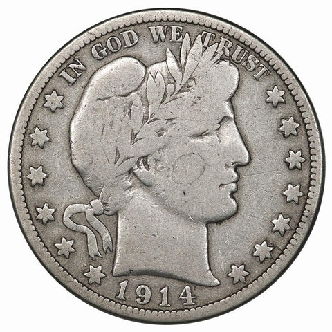1914 Barber Half Dollar - Very Good Detail (wiped)