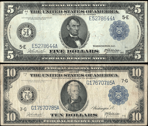 1914 $5 & $10 Federal Reserve Notes Special - Nice Fine to Very Fine