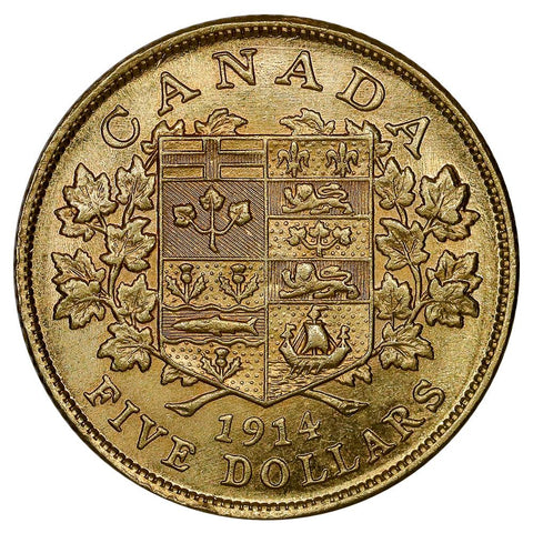 Key-Date 1914 Canada $5 George V Gold Coin KM. 26 - Brilliant Uncirculated