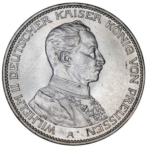 1914-A German States, Prussia Silver 3 Mark KM.538 - Brilliant Uncirculated
