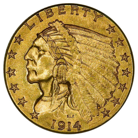 1914-D $2.5 Indian Gold Coin - Extremely Fine