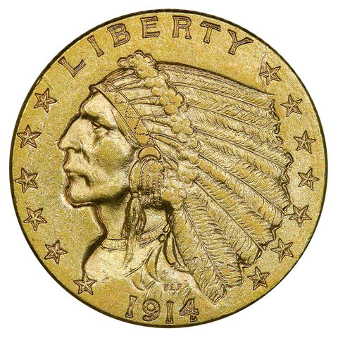 1914-D $2.5 Indian Gold Coin - About Uncirculated Detail Ex-Jewelry