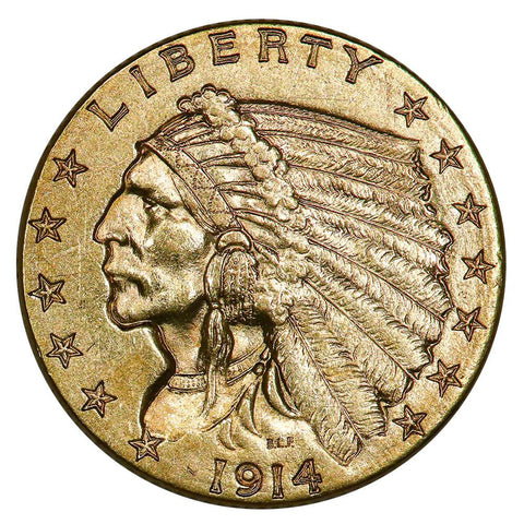 1914-D $2.5 Indian Quarter Eagle Gold Coin - About Uncirculated