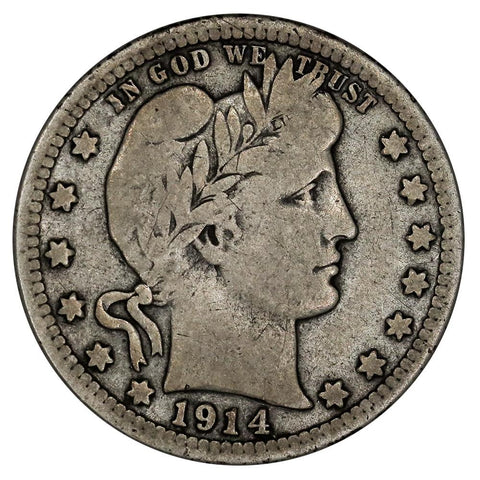 Low Mintage 1914-S Barber Quarter - Very Good