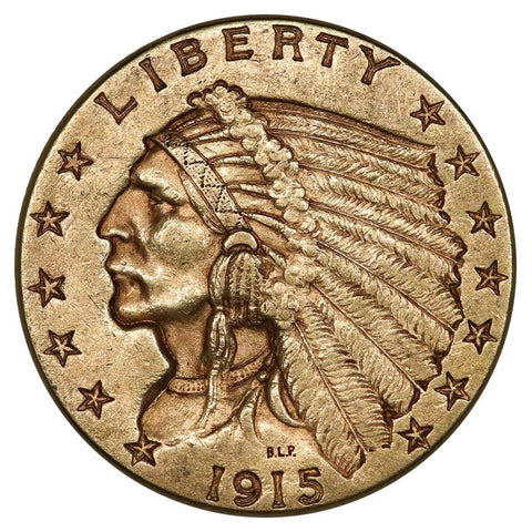 1915 $2.5 Indian Quarter Eagle Gold Coin - About Uncirculated
