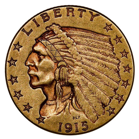 1915 $2.5 Indian Quarter Eagle Gold Coin - Extremely Fine