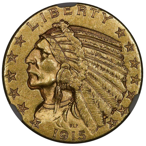 1915 $5 Indian Half Eagle Gold Coin - NGC MS 61 - Uncirculated