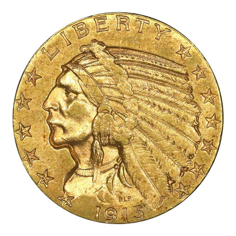 1915 $5 Indian Half Eagle Gold Coin - About Uncirculated