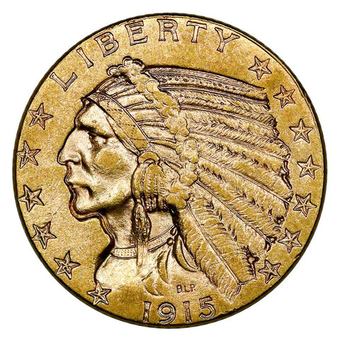 1915 $5 Indian Half Eagle Gold Coin - Brilliant Uncirculated
