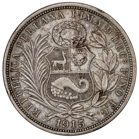 1915LIMAFG-JR Peru Silver 1/2 Sol KM.203 - About Uncirculated