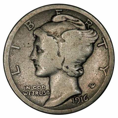 1916-D Mercury Dime - The Key To The Series - Good+