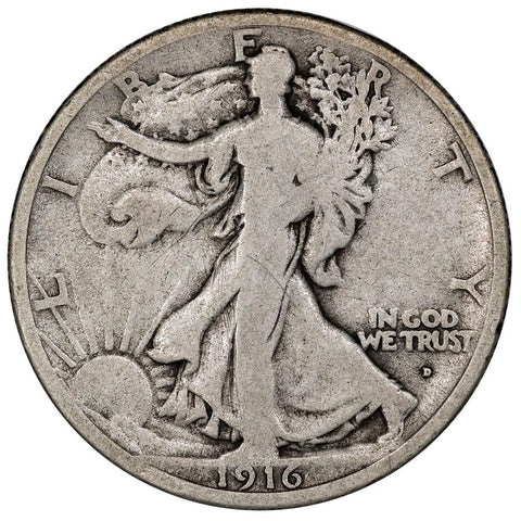 1916-D Walking Liberty Half Dollar - Very Good
