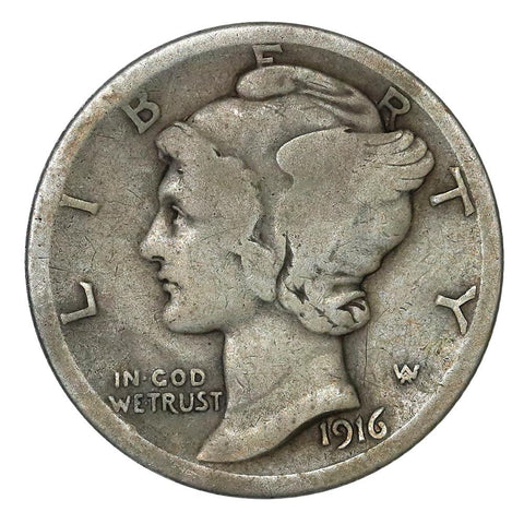 1916-D Mercury Dime - The Key To The Series - Very Good