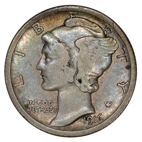 1916-D Mercury Dime - The Key To The Series - Nice Fine