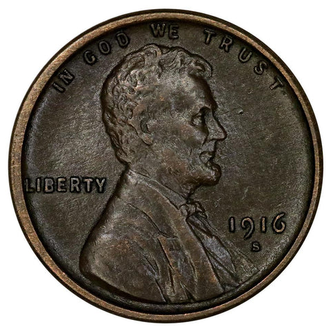 1916-S Lincoln Wheat Cent - About Uncirculated
