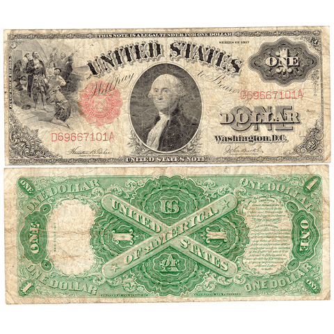"1917 ""Sawhorse"" $1 Legal Tender Note - Fr. 36 - Very Good/Fine"