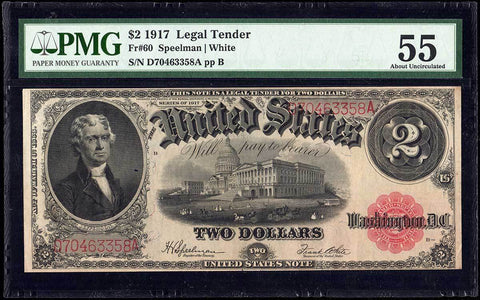 1917 $2 Legal Tender Note Fr. 60 - PMG About Uncirculated 55