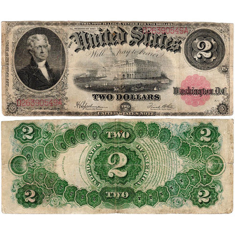 1917 $2 Legal Tender Note Fr. 60 - Fine