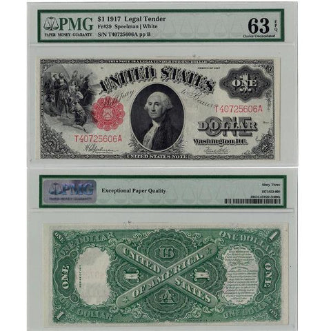 1917 $1 Sawhorse Legal Tender Fr. 39 - PMG 63 EPQ