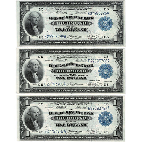 Consecutive Trio of 1918 $1 Richmond Federal Reserve Bank Notes Fr.722 - Choice Very Fine+