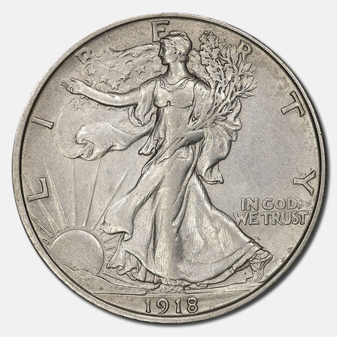 1918 Walking Liberty Half Dollar - About Uncirculated