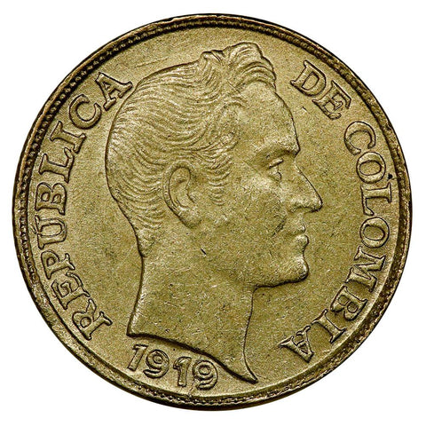 1919 Colombia Gold 5 Pesos KM. 201.1 Doubled Die Rev. - About Uncirculated
