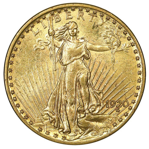 1920 $20 Saint Gaudens Double Eagle Gold Coin - About Uncirculated