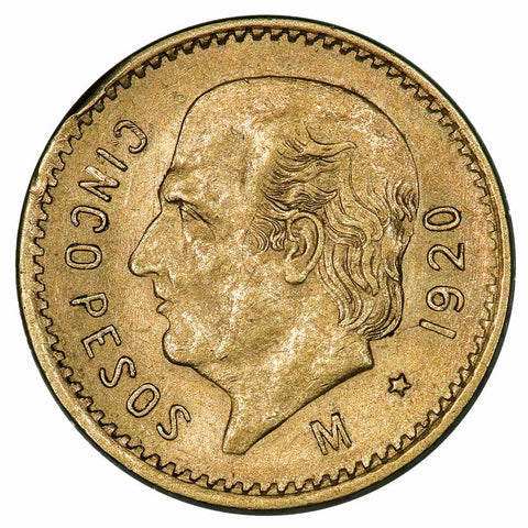 1920 Mexico 5 Peso Gold Coin KM. 464 - About Uncirculated