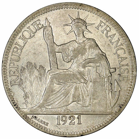 1921 French Indo-China Silver Piastre KM.5a.3 - Extremely Fine