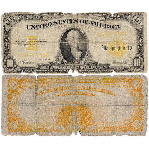 1922 $10 Gold Certificate Speelman/White FR. 1173 - Good