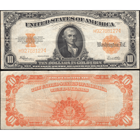 1922 $10 Gold Certificate Speelman/White FR. 1173 - Very Fine