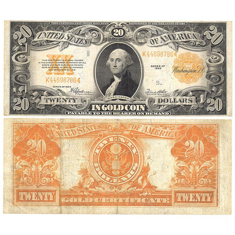 1922 $20 Gold Certificate Speelman/White Fr. 1187 - Very Fine